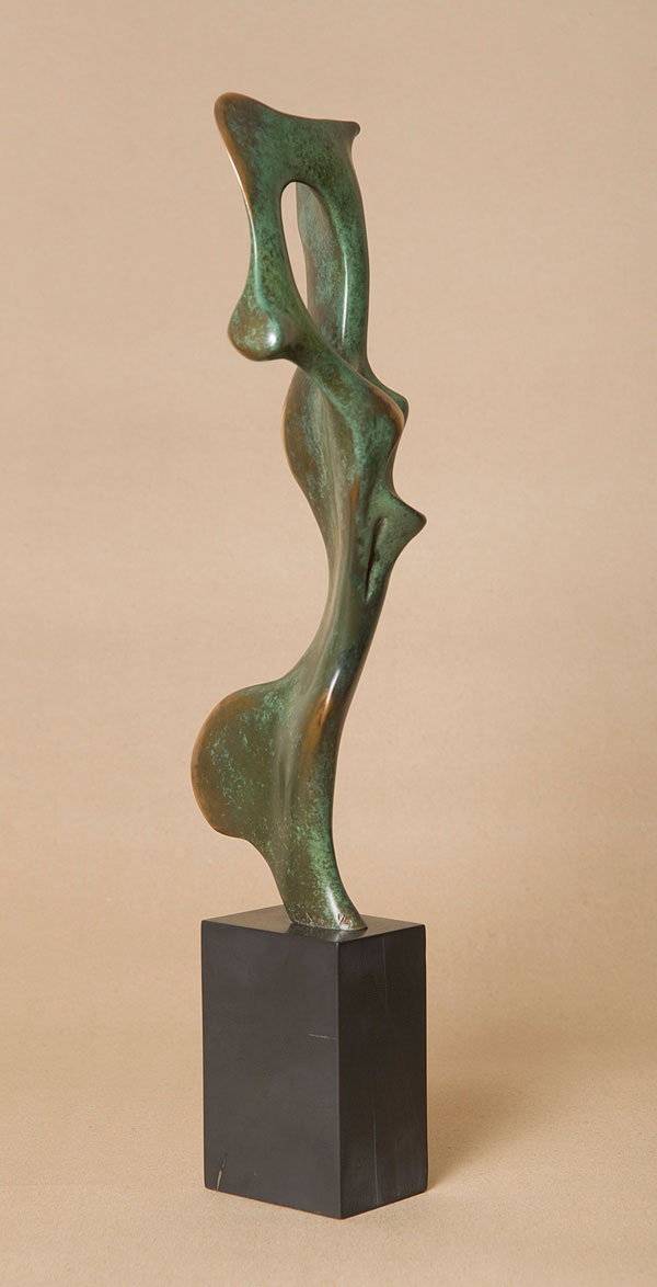 Bone Form I, small bronze abstract sculpture of figure.
