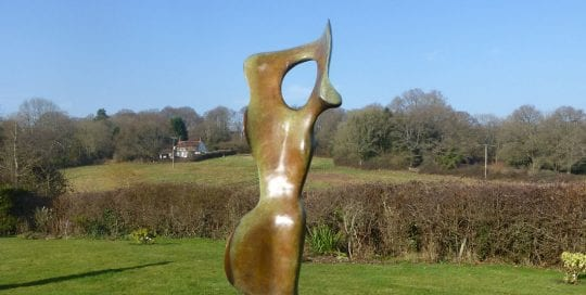 Bone Form II, large bronze abstract sculpture of figure for garden.