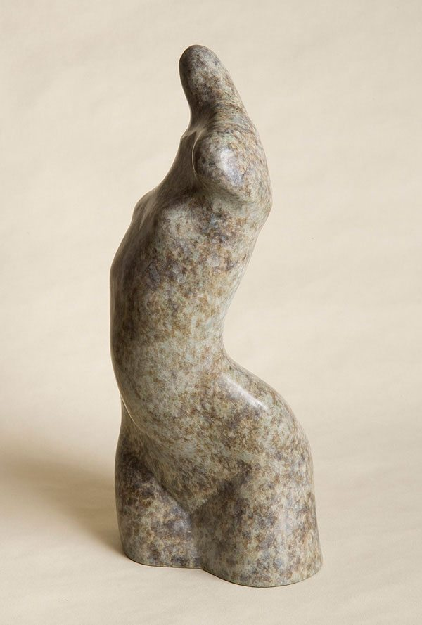 Small bronze sculpture of abstracted female torso Torse Torsade.