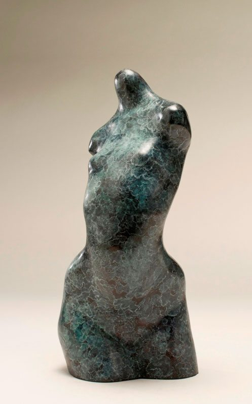 Small bronze sculpture of abstracted female torso Torse Torsade