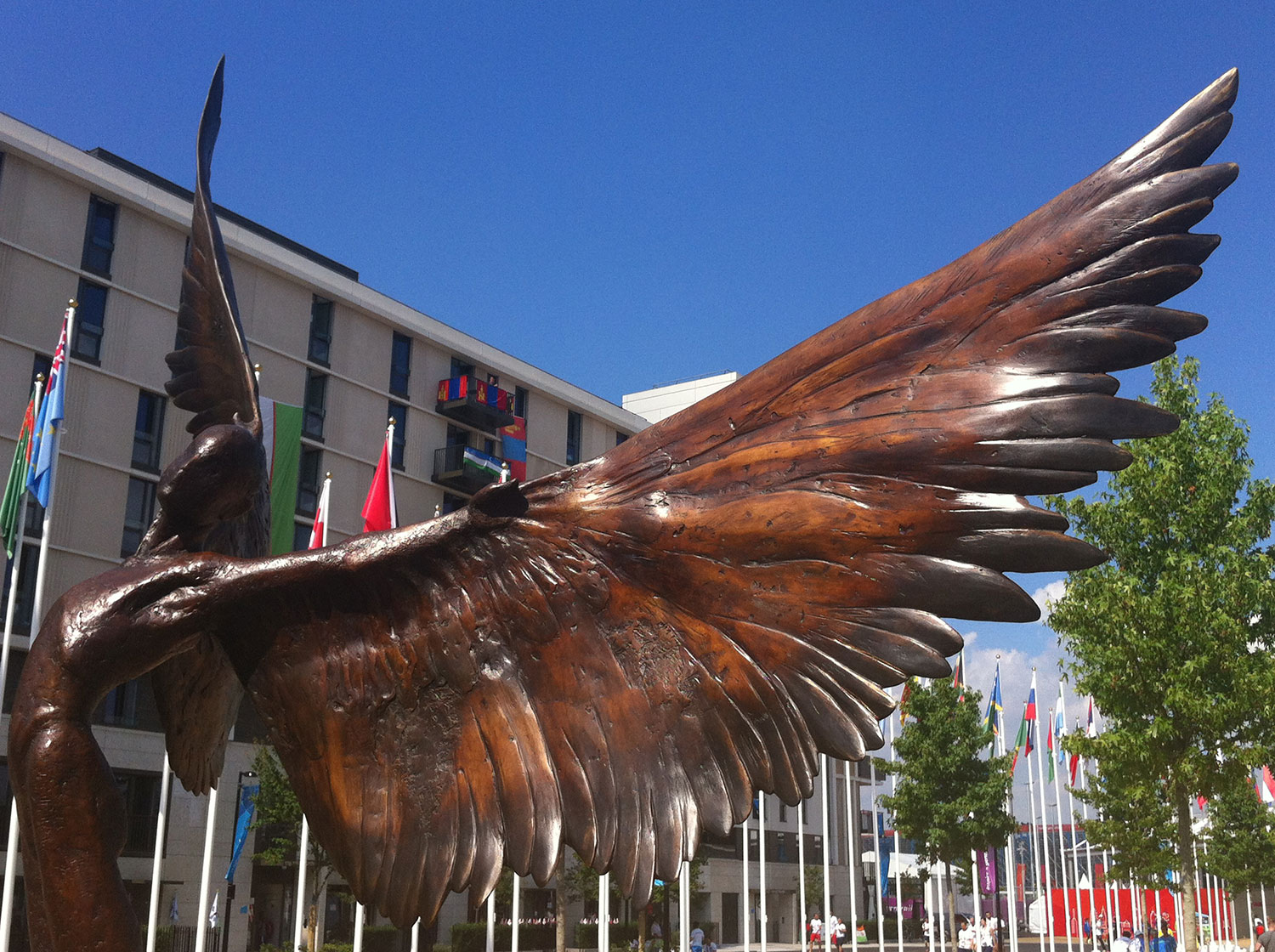 Icarus I, bronze sculpture at the London Olympic Village in 2012.