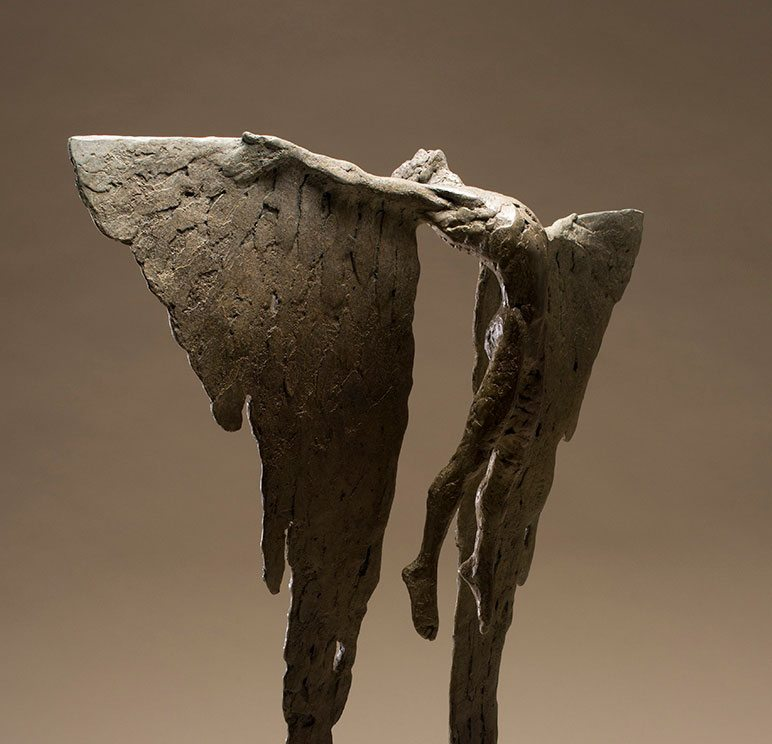 Icarus Rising VIII. Bronze sculpture of mythological figure for interiors.