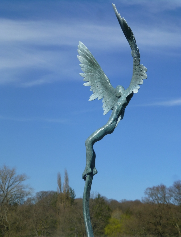 Icarus IV small edition bronze sculpture