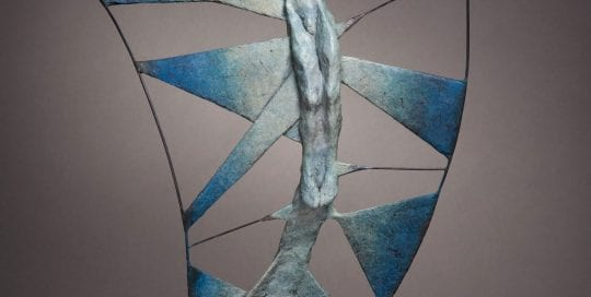 Vol d'Etincelle II. Spark II .Bronze sculpture for interiors in blue.