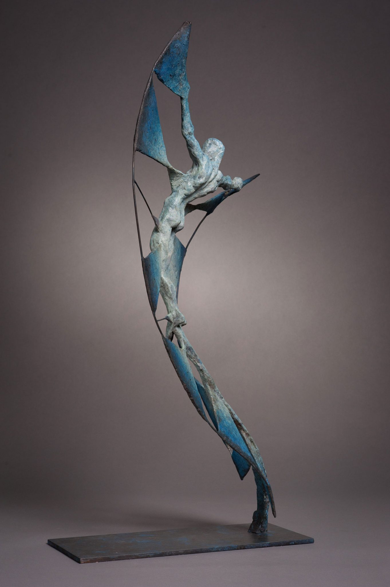 Vol d'Etincelle II. Spark II. Bronze abstract figurative sculpture.