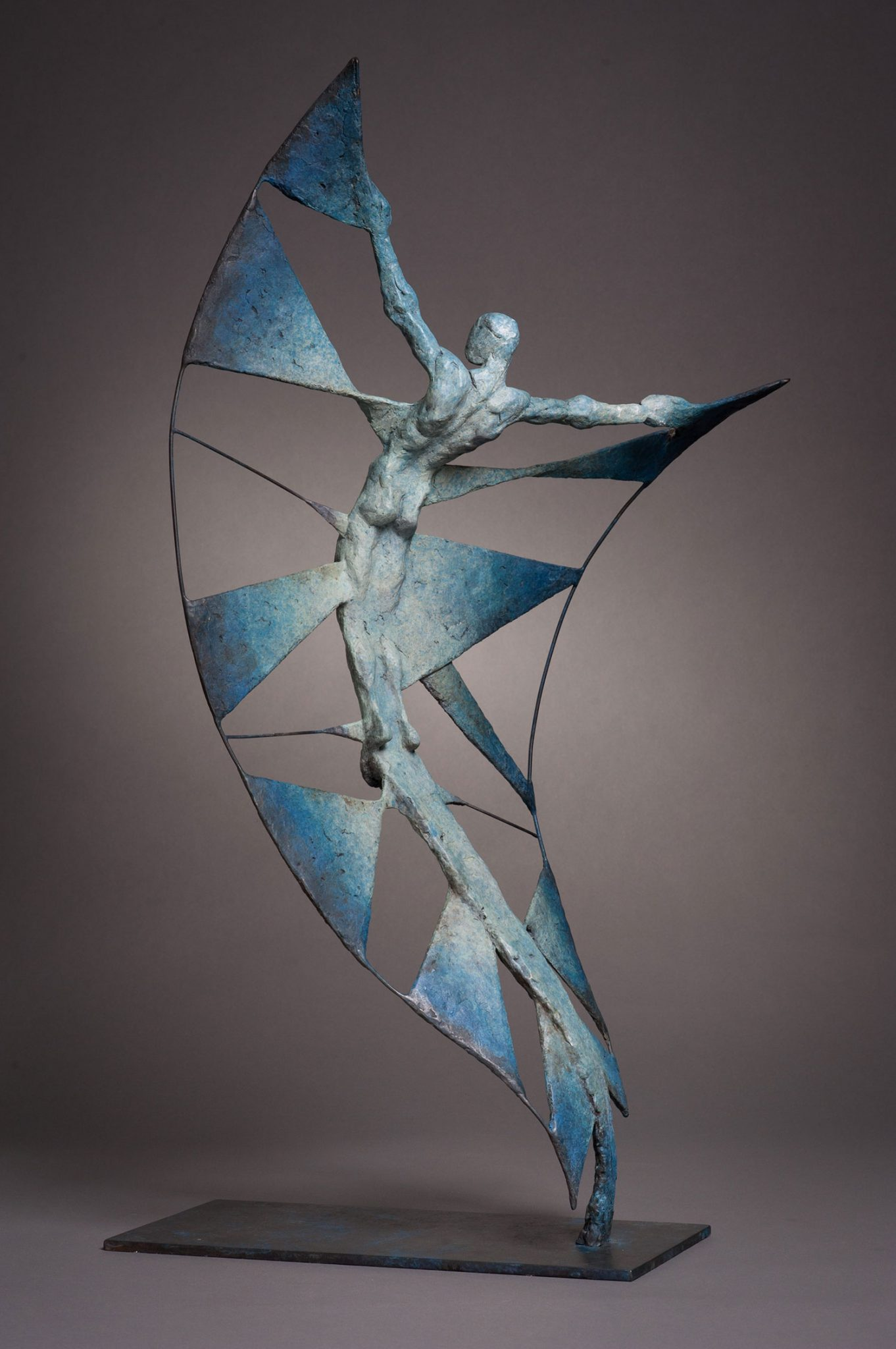 Vol d'Etincelle II. Spark II. Bronze abstract sculpture in blue.