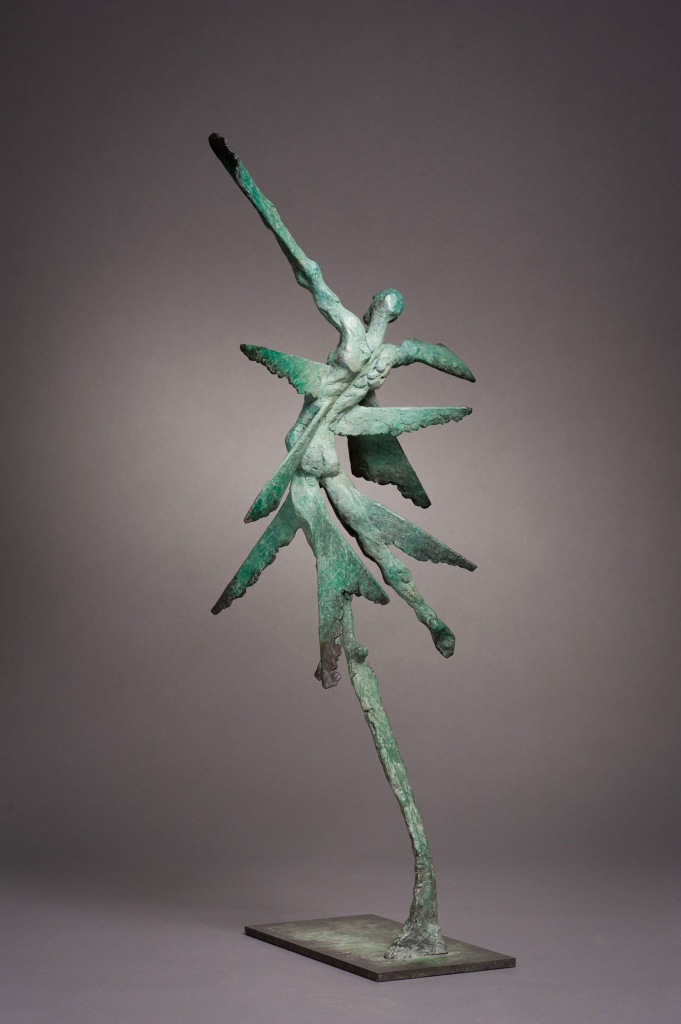 Vol d'Etincelle III. Spark III. Bronze abstract sculpture in green