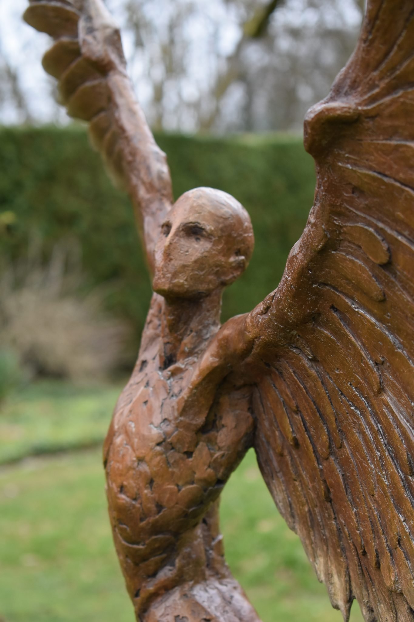 Bronze statue of Icarus figure for garden on sale.