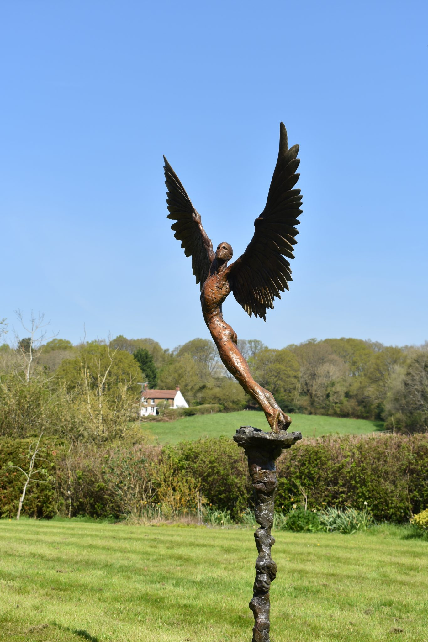 Icarus bronze figurative sculpture