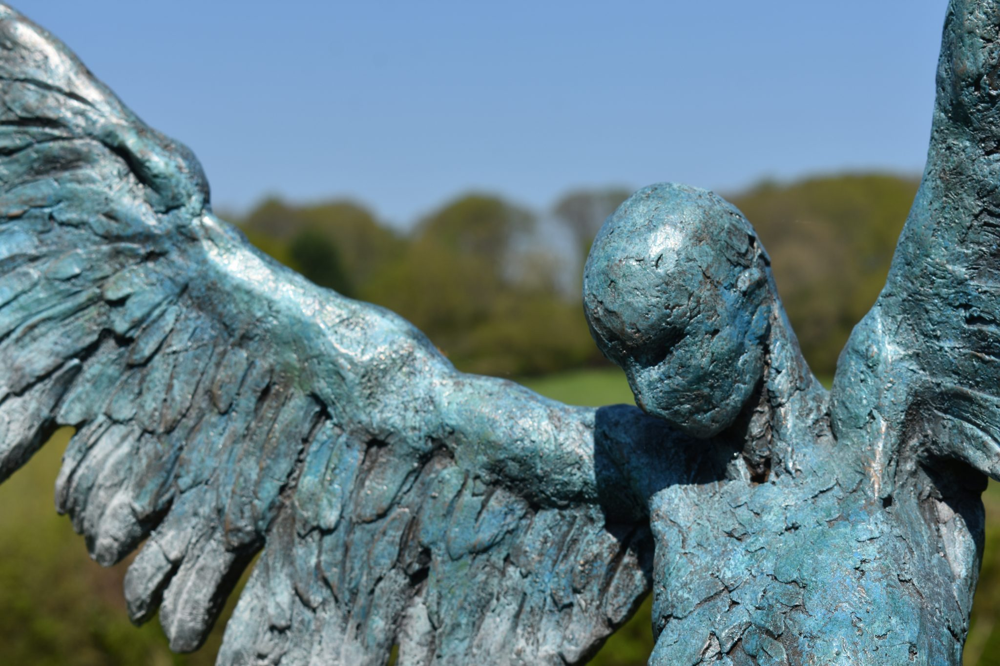 Blue Icarus bronze sculpture