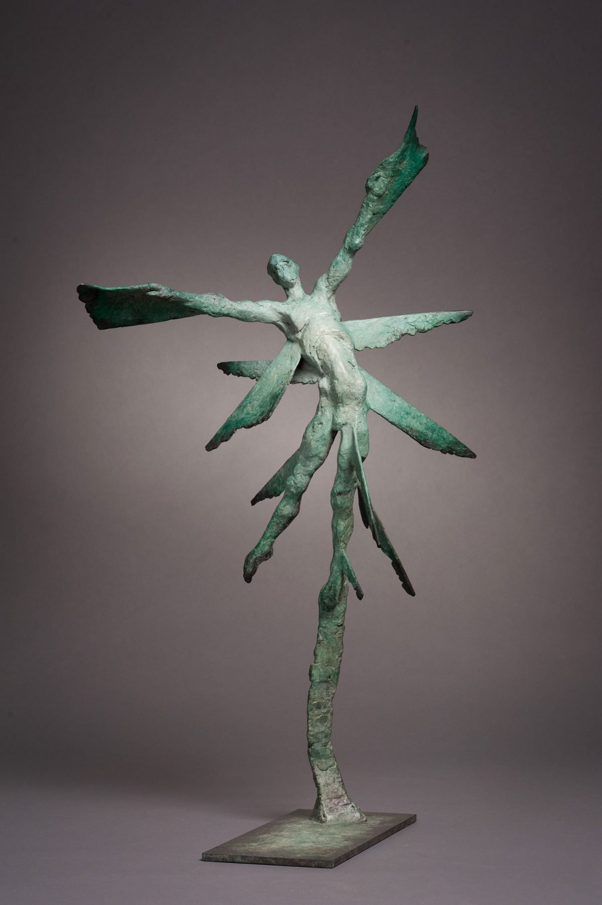 Vol d'Etincelle III. Spark III. Bronze abstract sculpture in green.