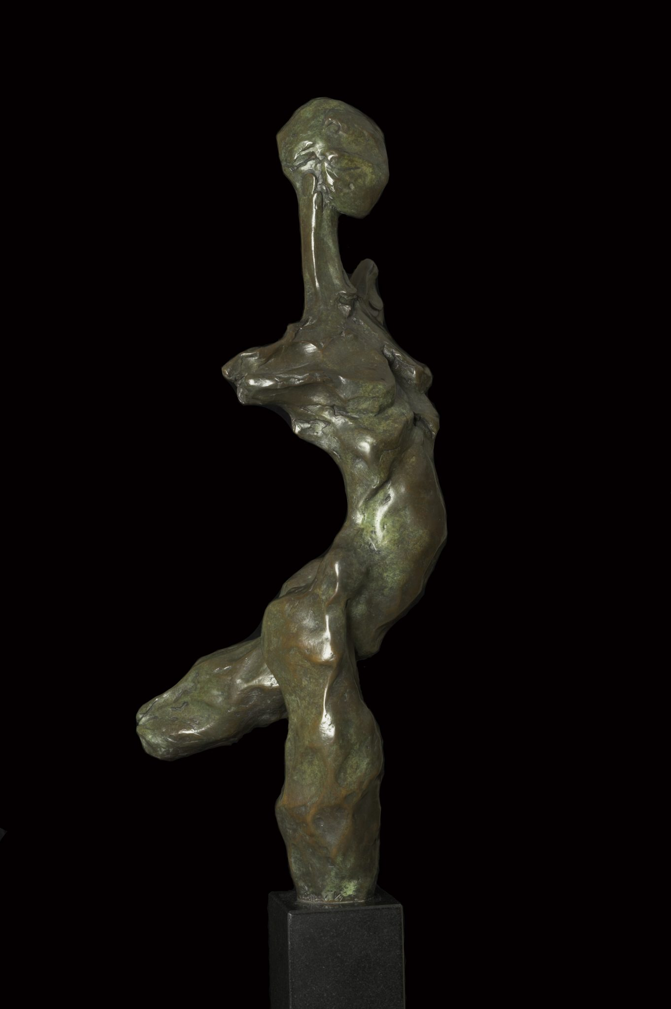 Bronze sculpture of dancing figure derived from flint