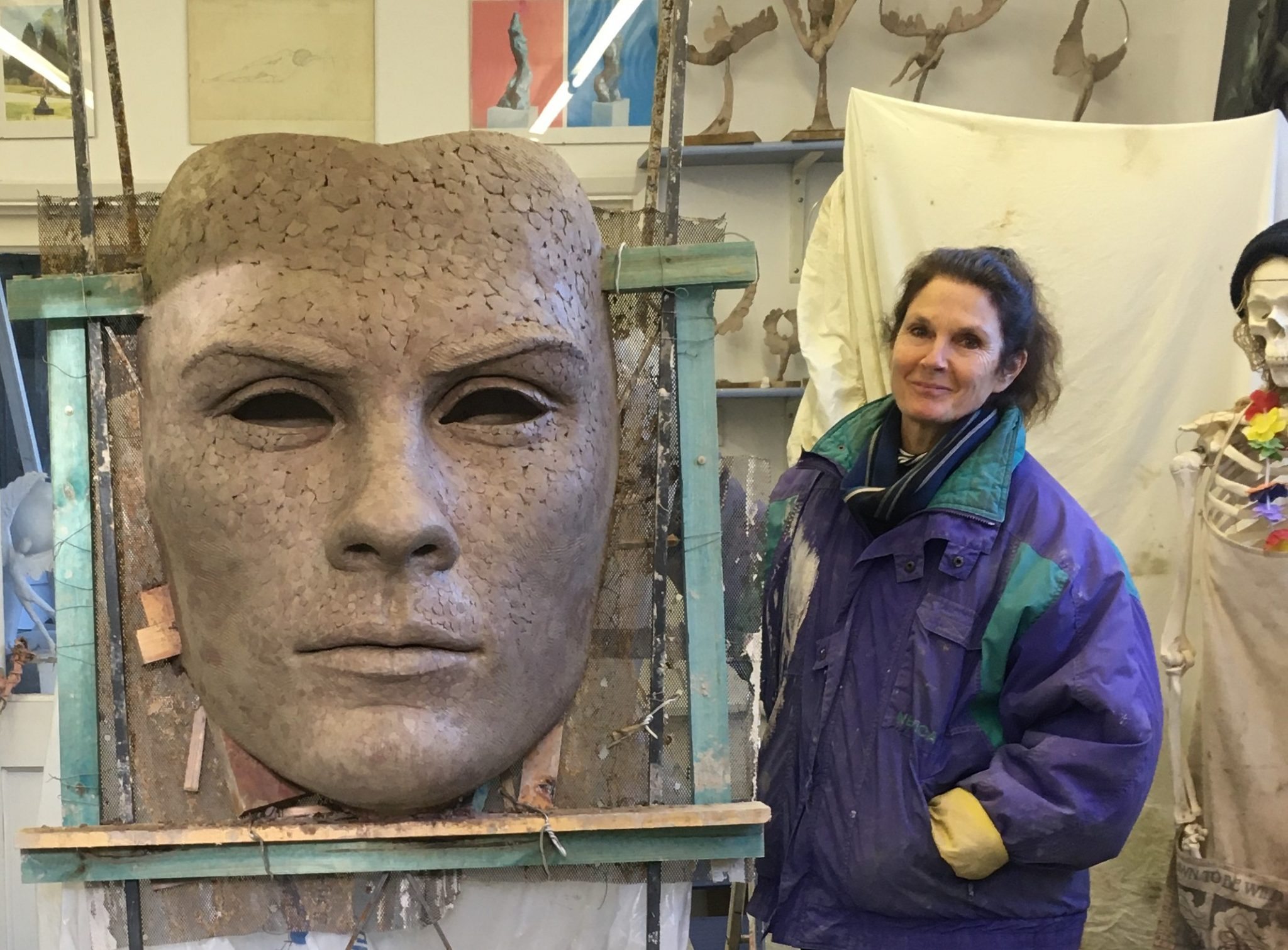 Clay work for large mask sculpture
